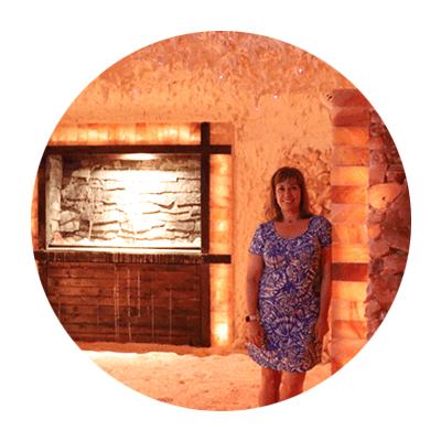 woman in salt cave room